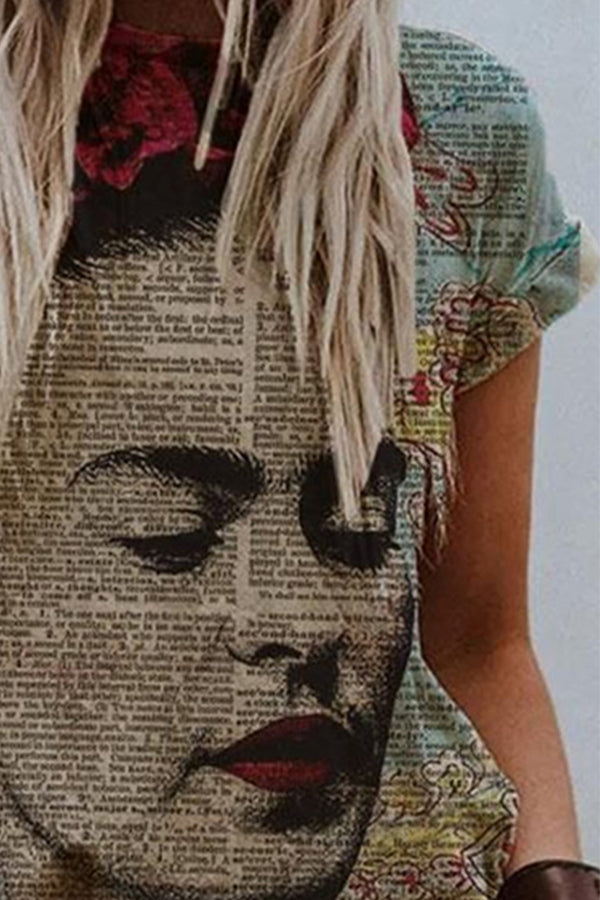 Vintage Artistic Frida Kahlo With Floral Headwear Letter Print Short Sleeves T-shirt