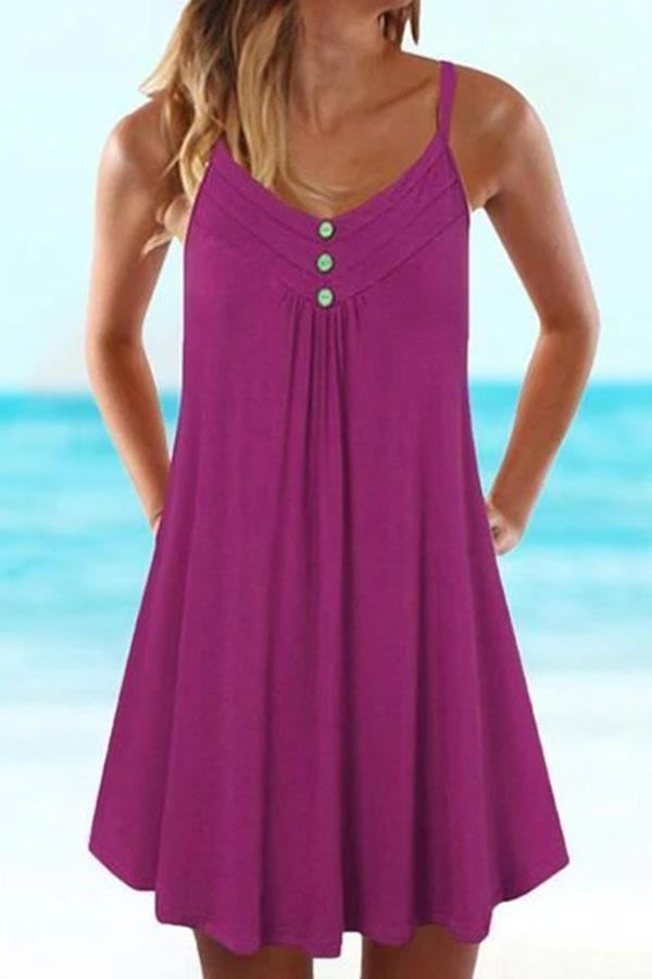 Paneled Solid Buttoned Sling Sleeveless Holiday Mini Dress