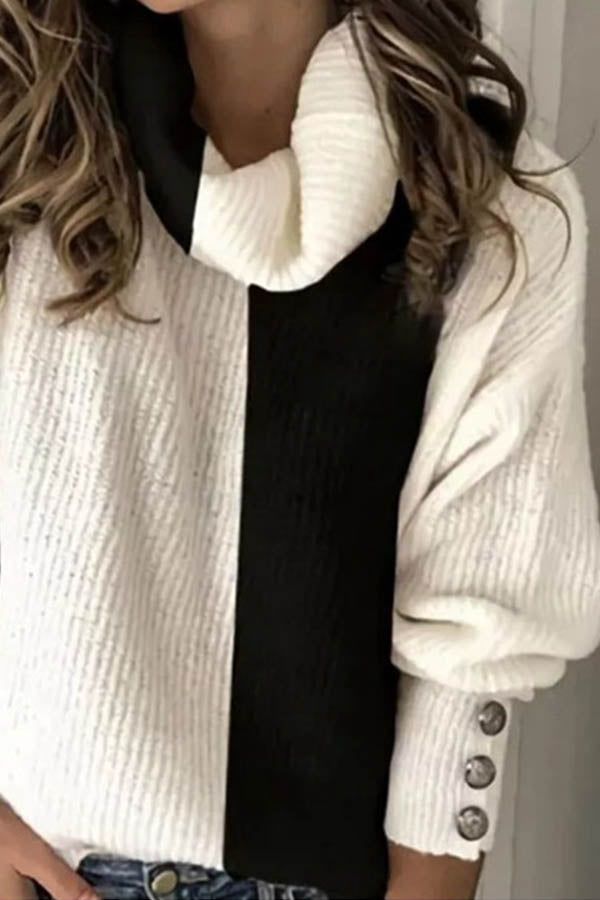 Holiday Solid Pile Collar Buttoned Color Block Knitted Ribbed Sweater