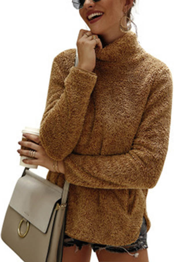 Holiday Solid Fuzzy Slit Side Pockets Stand Collar Sweatshirt