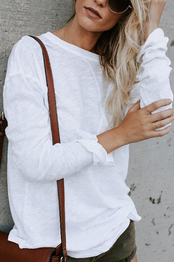 Casual Solid Long Sleeves Crew Neck Blouse