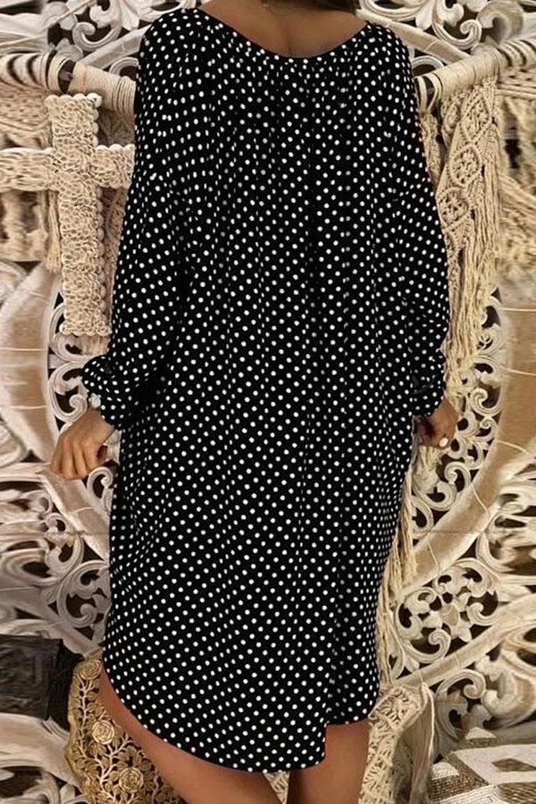 Polka Dots Print Curved Hem V-neck Midi Dress