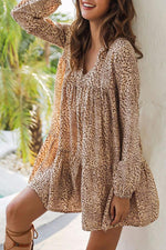 V Neck Leopard Paneled Casual Mini Dress
