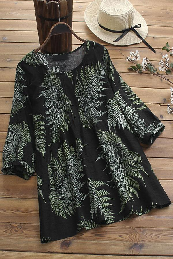 Leaf Print Paneled Pleated 3/4 Sleeves Vintage Blouse