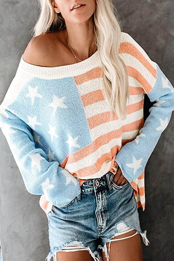 American Flag Jacquard Color-block Knitted Ribbed Slit High Low Sweater