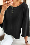 Plus Size Crew Neck 3/4 Sleeves Top