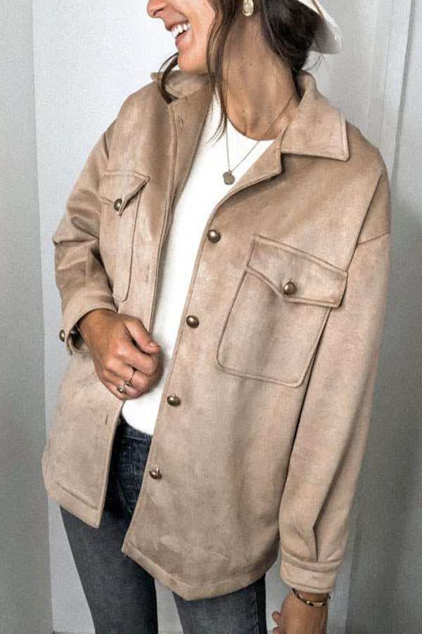 Street Fashion Suede Solid Lapel Collar Buttons Down Coat