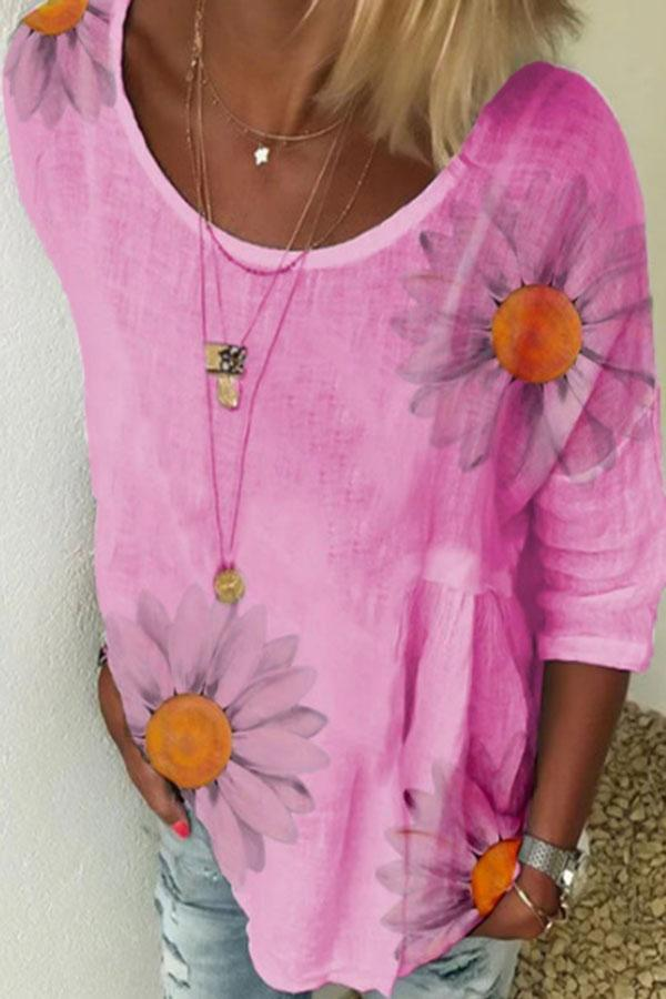 Daisy Print 3/4 Sleeves Crew Neck Casual Blouse