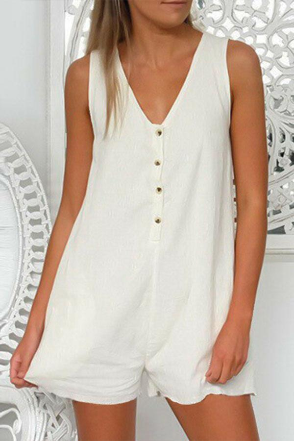 Solid Buttoned V-neck Sleeveless Casual Paneled Romper