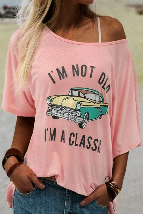 Car Letter Print Casual Half Sleeves Casual T-shirt