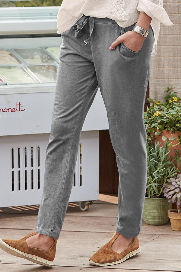 Casual Solid Drawstring Elastic Waist Side Pockets Long Pants