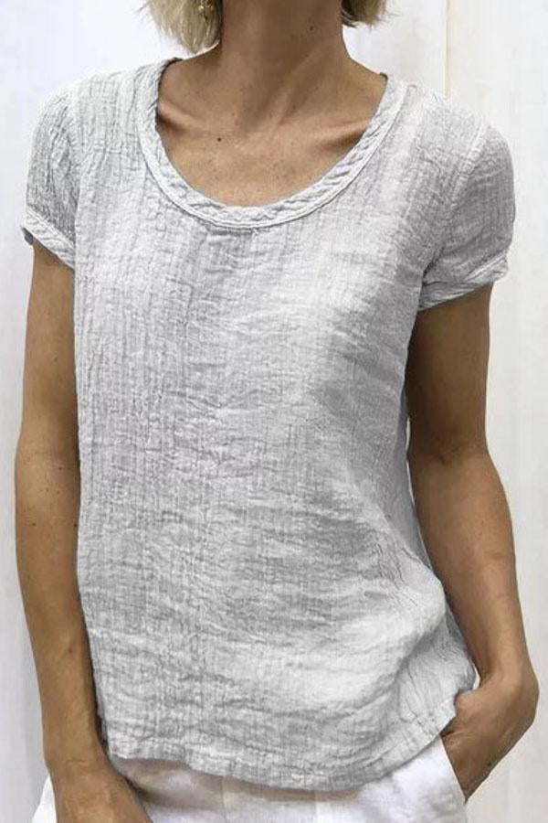 Round Neck Casual Cotton T-shirt