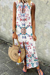 Sleeveless Floral Print V-neck Holiday Slit Maxi Dress