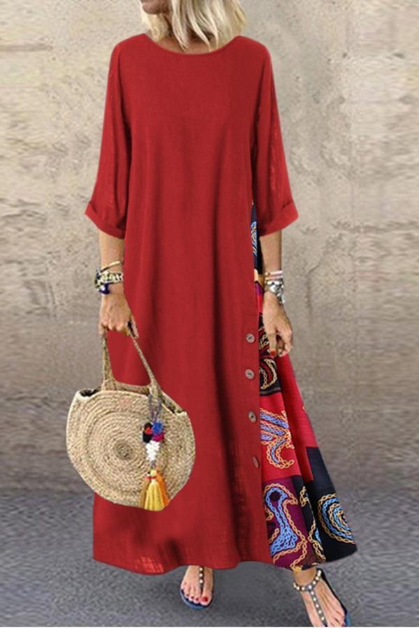Paneled Printed 3/4 Sleeves Casual Maxi Dress