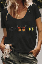 Casual Shift Butterfly Print Loose T-shirts