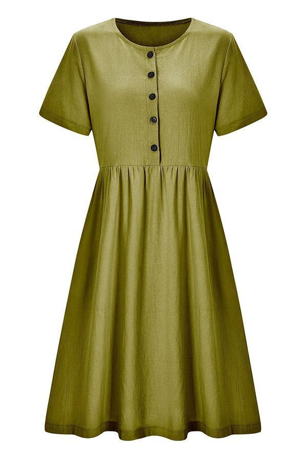 Casual Buttoned Short Sleeves Midi Dress