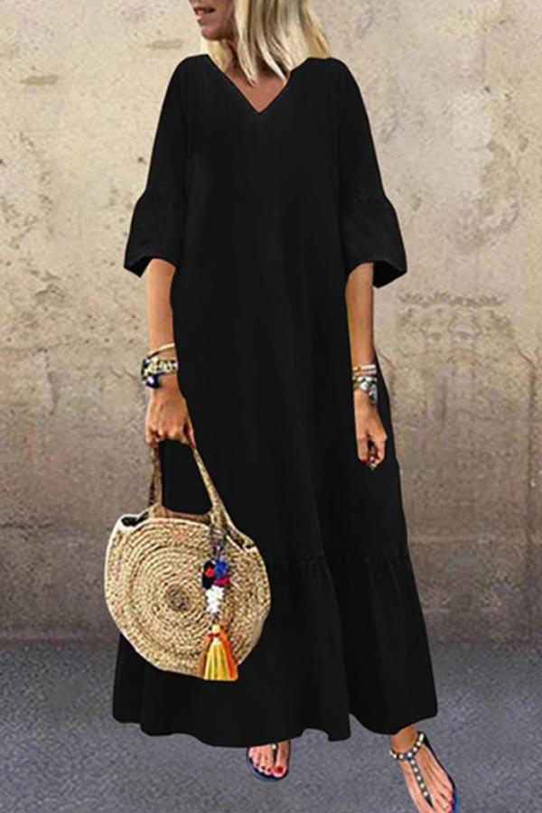 Casual Solid V Neck Loose Maxi Dress