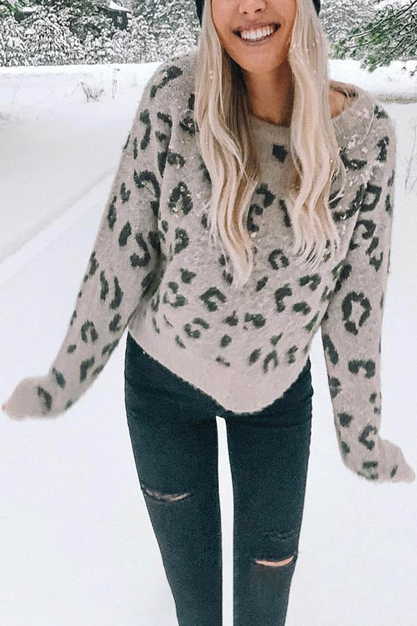 Holiday Leopard Jacquard Knitted Ribbed Mohair Sweater