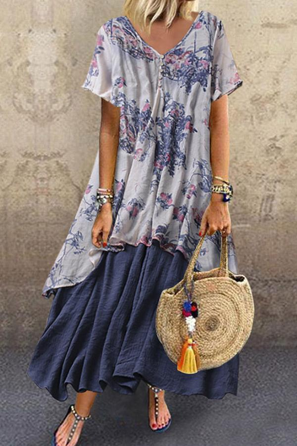 Casual Floral Geometric Linen Buttoned-decor Fake Two Piece Maxi Dress