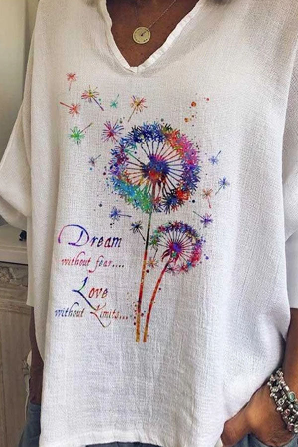 Dream Without Fear Love Without Limits Letter Gradient Dandelion Print Bat Sleeves Literary T-shirt