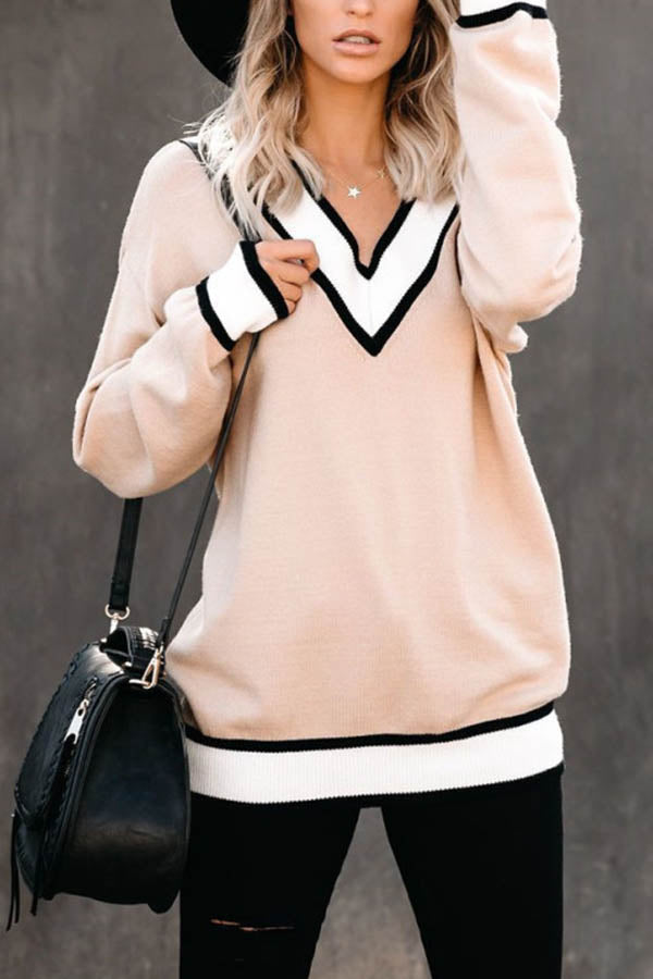 Casual Solid V Neck Color Block Knitted Ribbed Shift Sweater