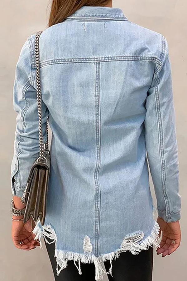 Casual Button Down Ripped Denim Shirts