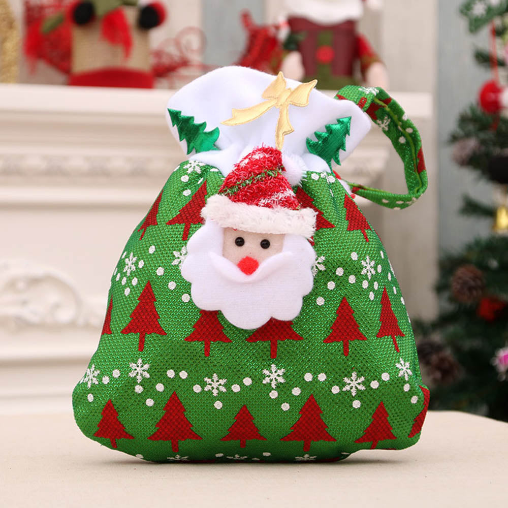 Lovely Christmas Tree Santa Claus Snowman Appliqued Gift Bag