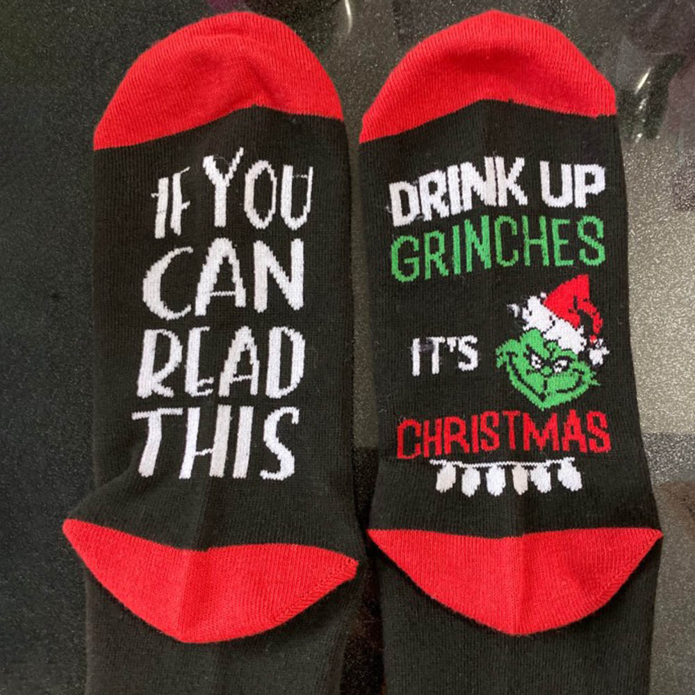 IF YOU CAN READ THIS DRINK UP GRINCHES Christmas Letter Jacquard Socks
