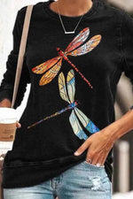Colorful Dragonfly Print Casual Long Sleeves T-shirt