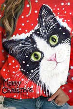Merry Christmas Letter Lifelike Black Cat Print Snow T-shirt