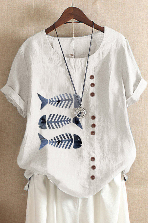 Casual Fish Bone Printed Buttons Down Crew Neck Short Sleeves Blouse