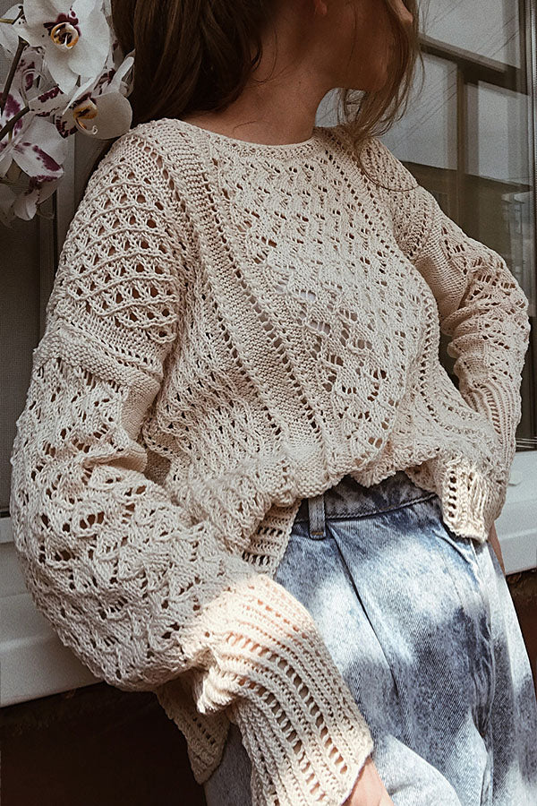 Holiday Solid Knitted Ribbed Tweed Hollow Out Lady Sweater