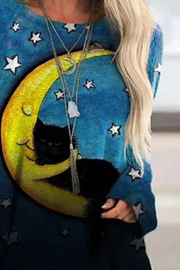 Sweety Black Cat Lying On The Moon Sleep With Star Night Sky Print Raglan Sleeves Shift T-shirt