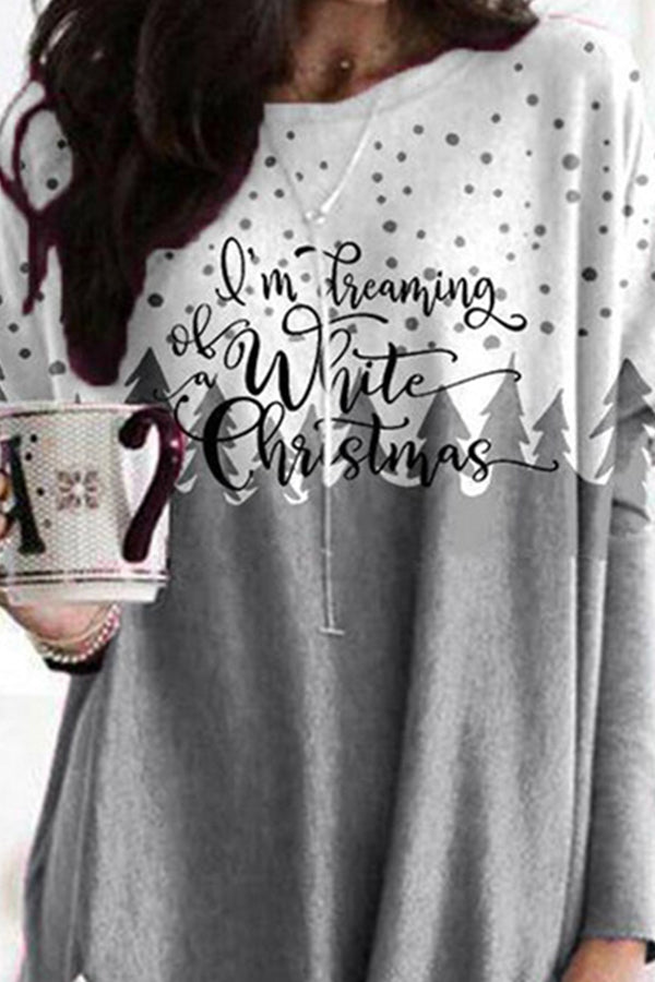 Im Dreaming Of White Christmas Letter Color-block Snow Treetop Print Sweety T-shirt