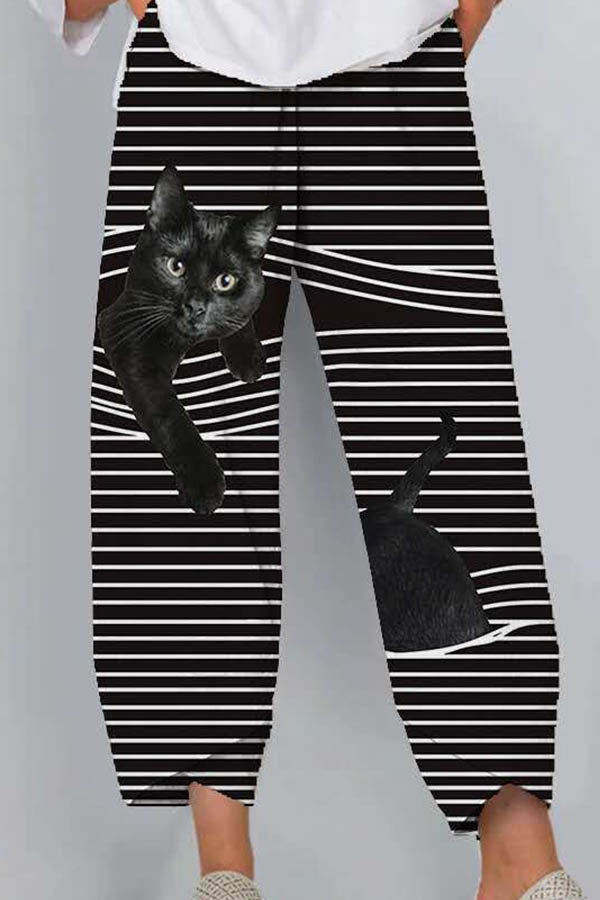 Vivid Black Cat Struck In Stripe Print Women Cartoon Pants