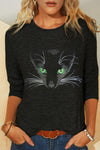 Round Neck Cat And Butterfly Printed Long Sleeve T-Shirt