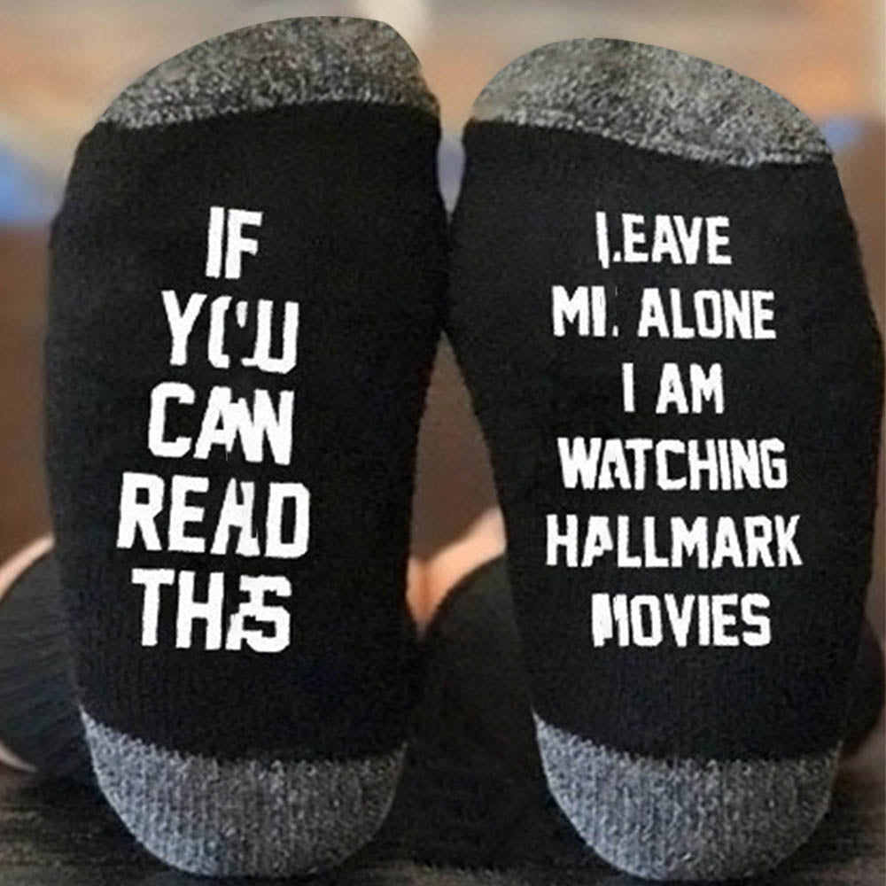 If You Can Read This Leave Me Alone Letter Jacquard Casual Color-block Socks