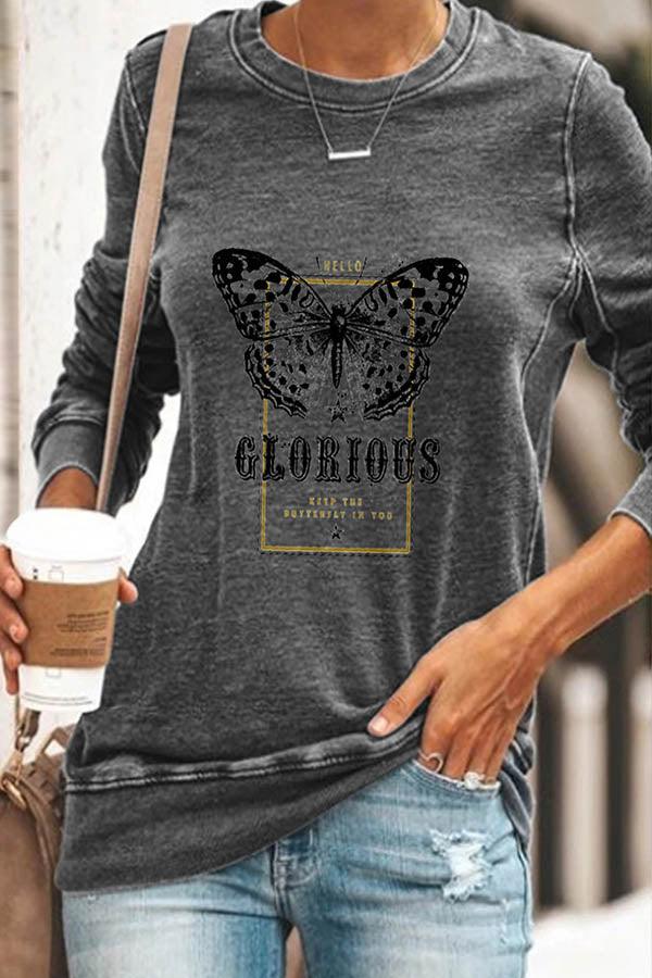 Glorious Vivid Butterfly Print Crew Neck Sheath Casual T-shirt