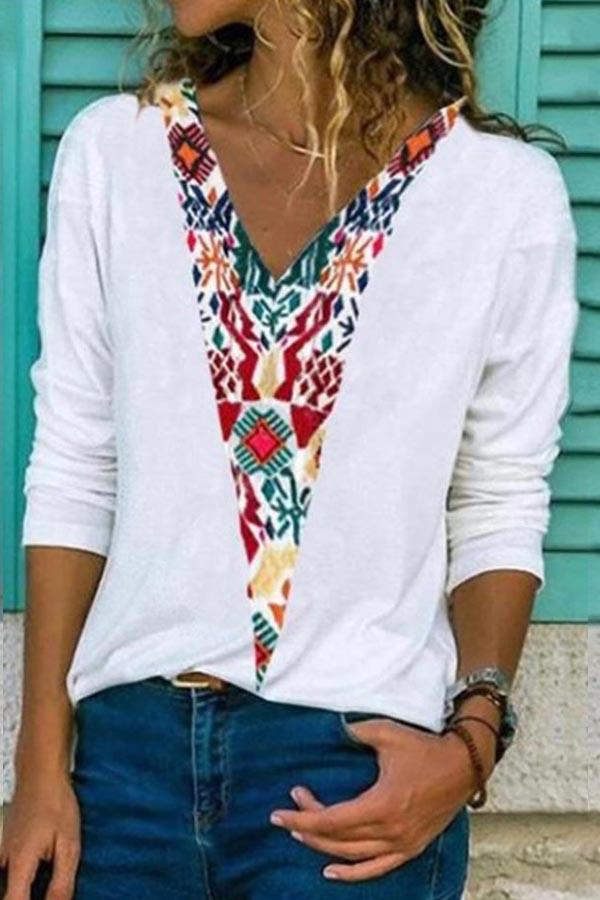 V-neck Floral Print Long Sleeves Casual T-shirt