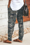 Casual Camouflage Print Pockets Pants