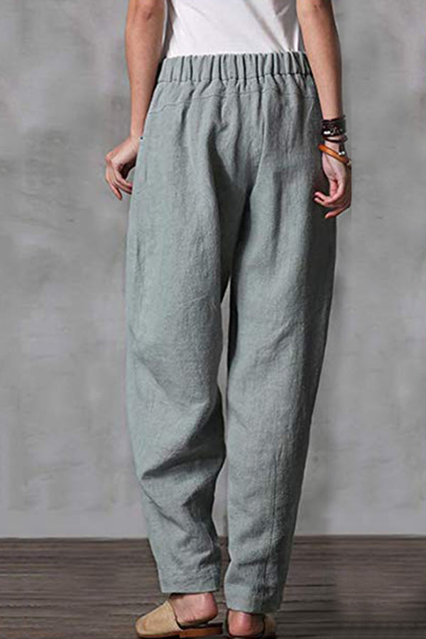 Casual Solid Elastic Pleated Button Zipper Pocket Pants