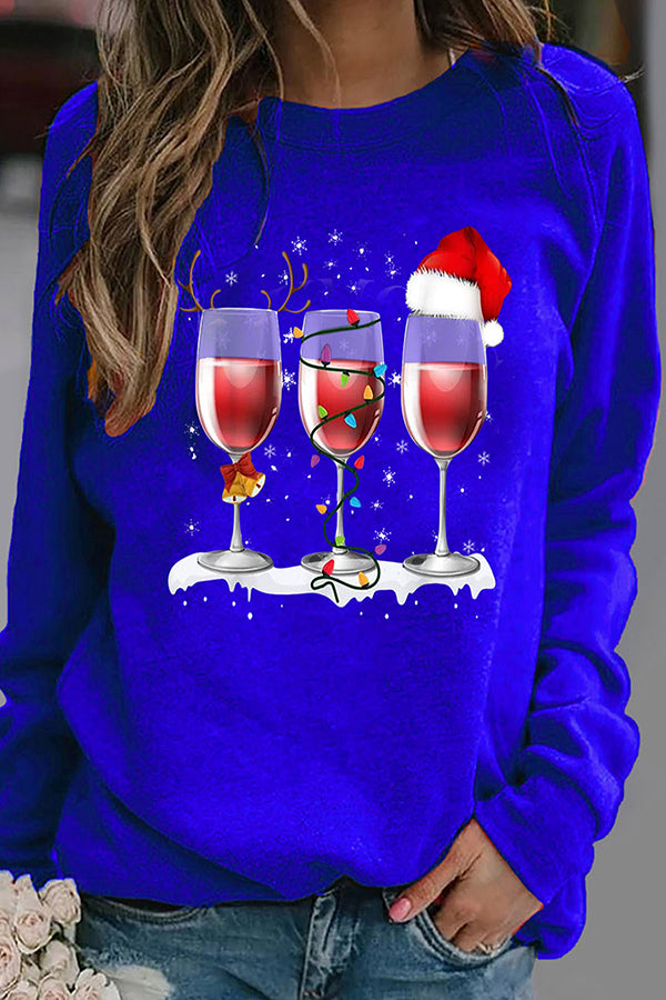Three Red Wine Glass With Christmas Hat Colorful Bulb Bell Print T-shirt