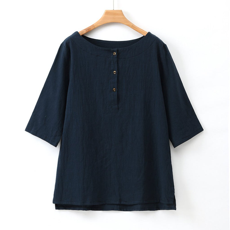 Solid Round Neck Button Front Tee