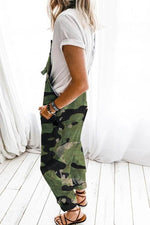 Casual Camouflage Print Sling Paneled Pockets Denim Jumpsuit