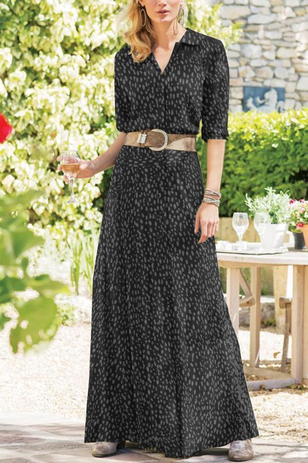 Polka Dots Print Buttoned Pockets Boho Maxi Dress