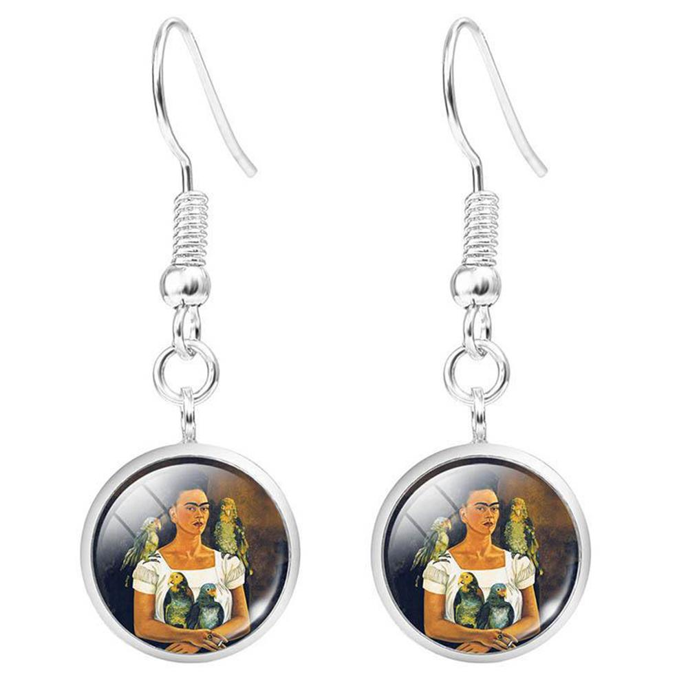 Vintage Frida Kahlo Print Glass Gem Eardrop Earrings