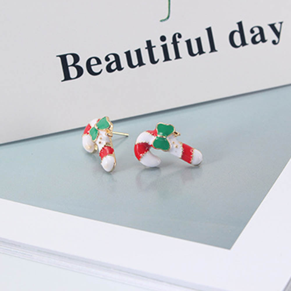 Lovely Christmas Elements Bell Santa Claus Cane Earrings