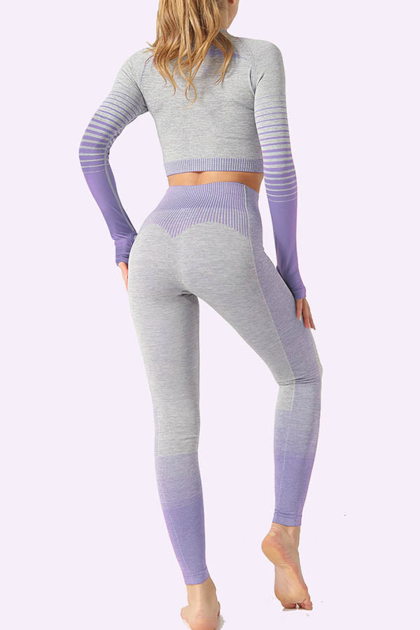 Striped Gradient Jacquard Cropped Top With Yoga Leggings Sports Two-pieces Set