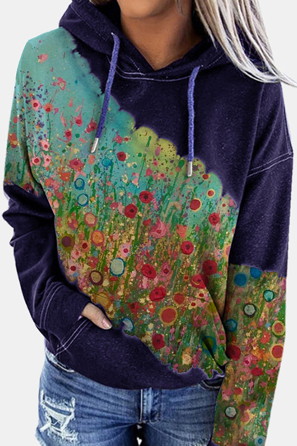 Gradient Abstract Floral Print Oil Painting Color-block Holiday Hoodie