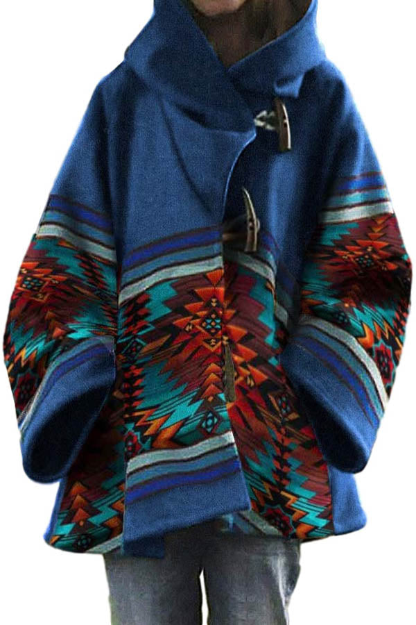 AZTEC Striped Jacquard Street Horn Buckle Hooded Coat